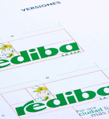Planimetría de la identidad visual de Rediba, diseñada por Galanés Agencia de Comunicación.
